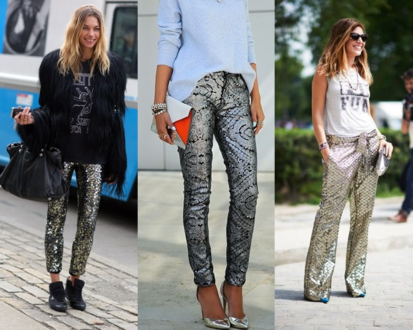 Metallic.pants